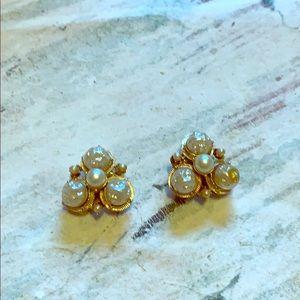 Vintage Coro clip on earrings faux gold & pearl